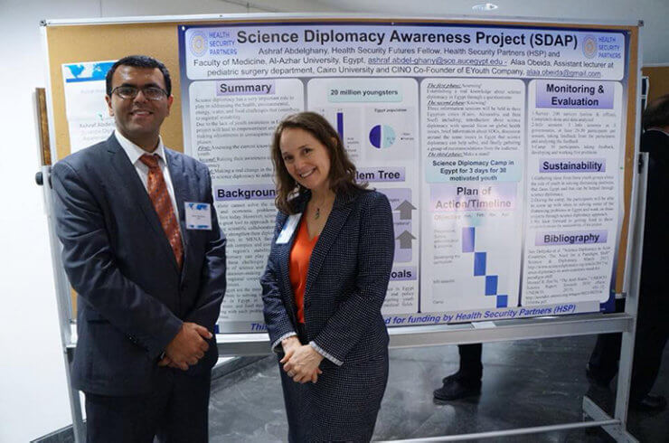 Ashraf with Dr. Lara A. Campbell, program director at the Office of International Science of Engineering at the National Science Foundation (NSF) in VA, USA on September 14, 2018, at The American Association for the Advancement of Science (AAAS) headquarters in Washington, DC during the fourth annual science diplomacy conference, Science Diplomacy 2018.