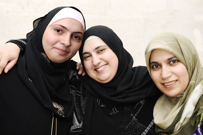 Women's health in the middle east (three women together)